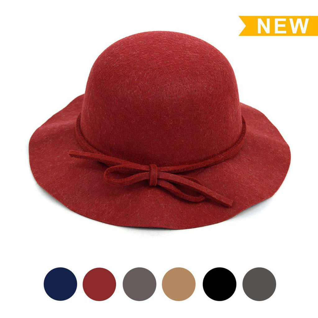 Women's Felt Floppy Short Brim Bowknot Hat - 6 Colors Available-Red-Daily Steals