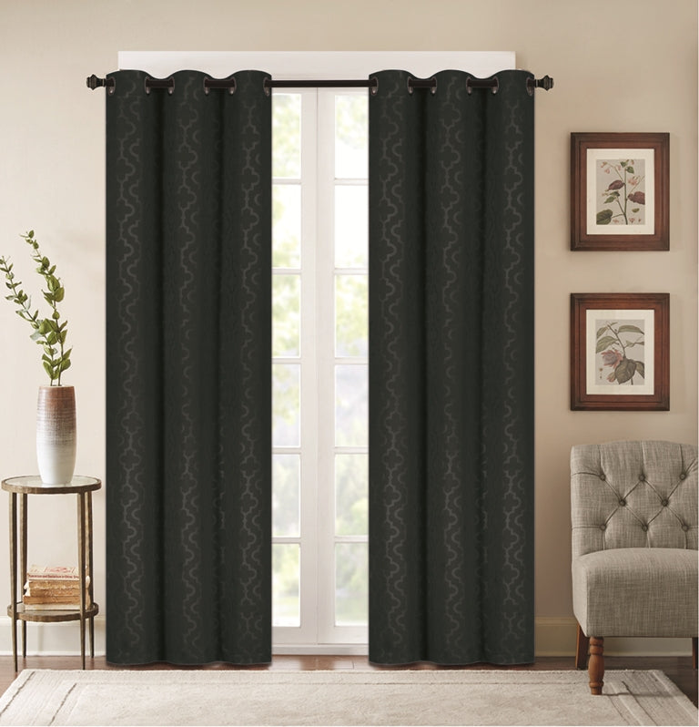 saving blackout thermal panels madison products embossed curtains energy curtain lattice black