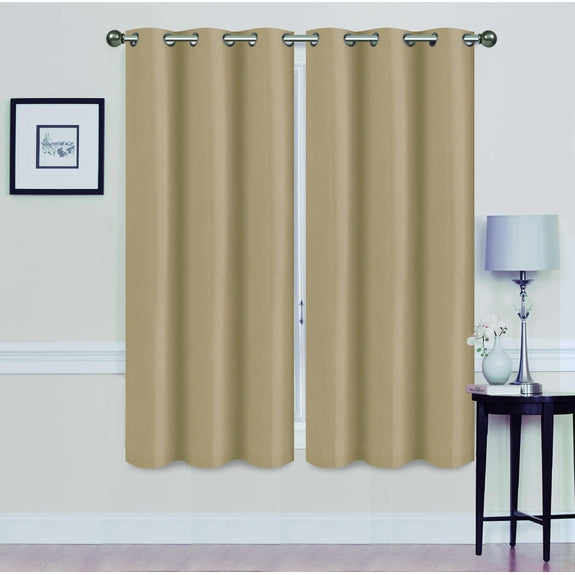 "Foam-Backed 76"" x 63"" Blackout Grommet Panels-BEIGE-Daily Steals"