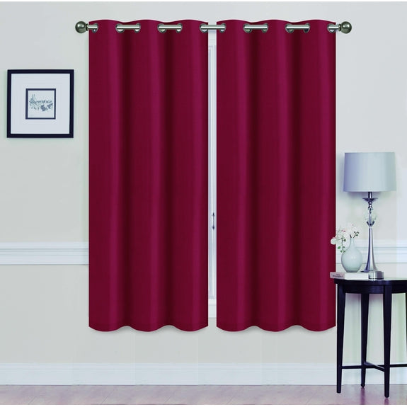 "Foam-Backed 76"" x 63"" Blackout Grommet Panels-BURGUNDY-Daily Steals"