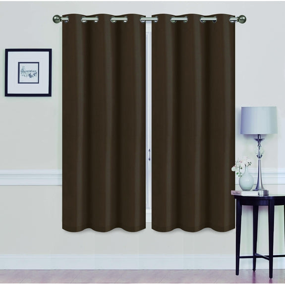 "Foam-Backed 76"" x 63"" Blackout Grommet Panels-COFFEE-Daily Steals"