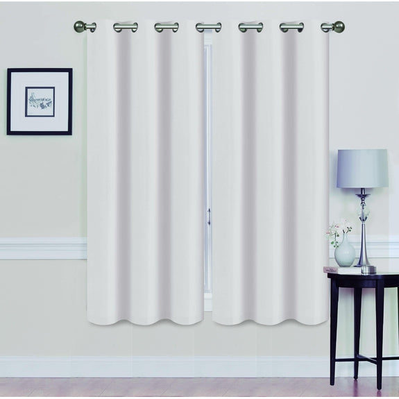 "Foam-Backed 76"" x 63"" Blackout Grommet Panels-WHITE-Daily Steals"
