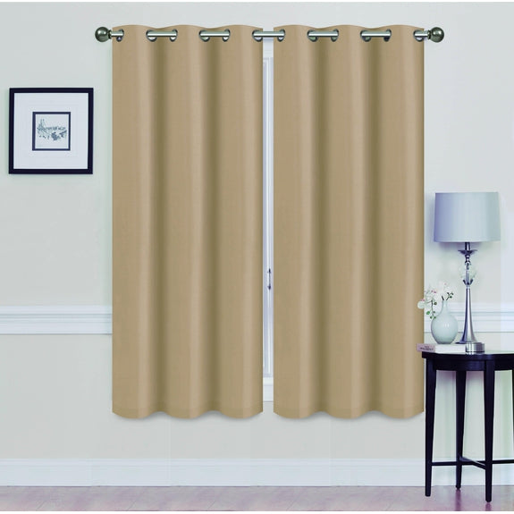 "Foam-Backed 76"" x 63"" Blackout Grommet Panels-GOLD-Daily Steals"