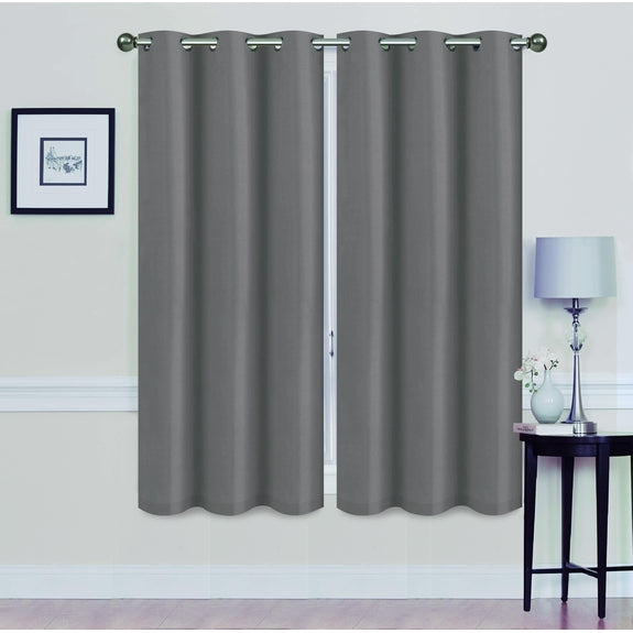 "Foam-Backed 76"" x 63"" Blackout Grommet Panels-GREY-Daily Steals"