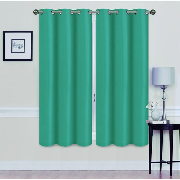 "Foam-Backed 76"" x 63"" Blackout Grommet Panels-TEAL-Daily Steals"