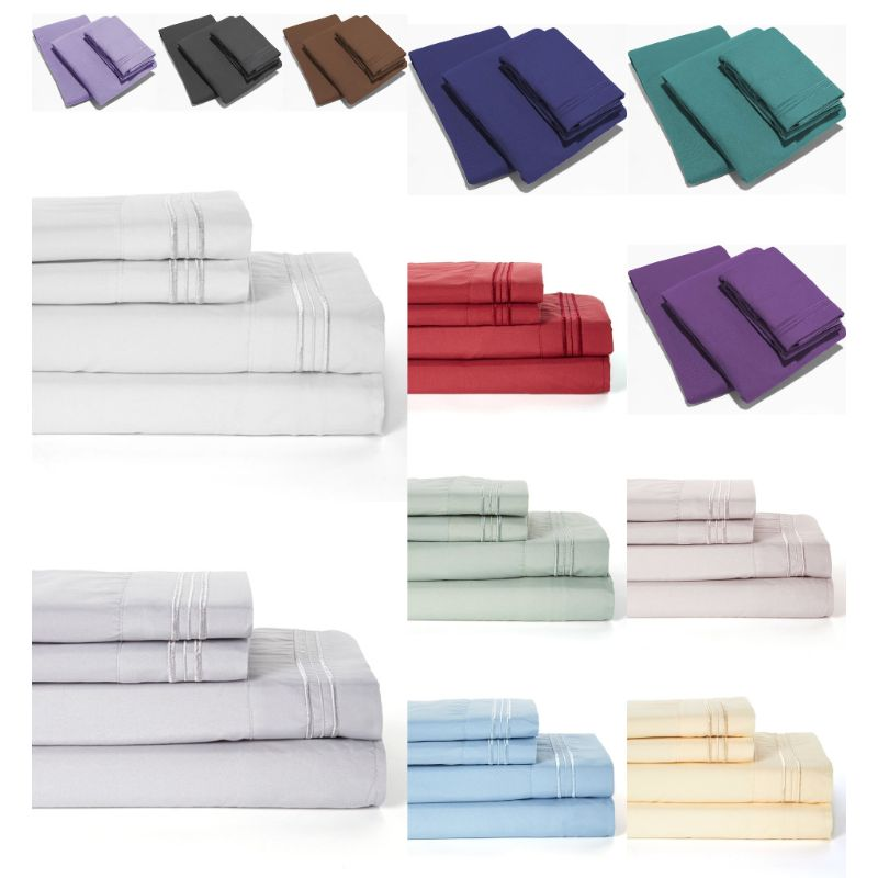 UltraSoft Egyptian Comfort Deep Pocket Brushed 1800 Series Sheets - 4 Piece-Daily Steals