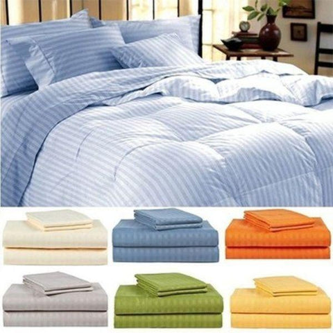 Daily Steals-4-Piece Set: Ultra-Soft Lux Decor Striped 1800 Series Sheets-Home and Office Essentials-Blue-Twin-