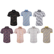 Suslo Couture Men's Slim Fit Designable Printed Short Sleeve Button Down Shirt-Daily Steals