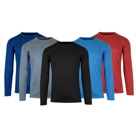 Men's Long Sleeve Moisture-Wicking Performance Crew Neck Tee - 3 Pack-Daily Steals