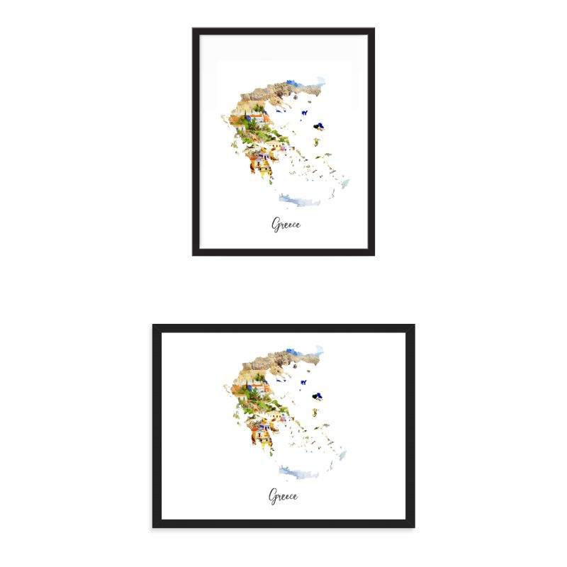 Greece Watercolor Map Print - Unframed Art Print-Daily Steals