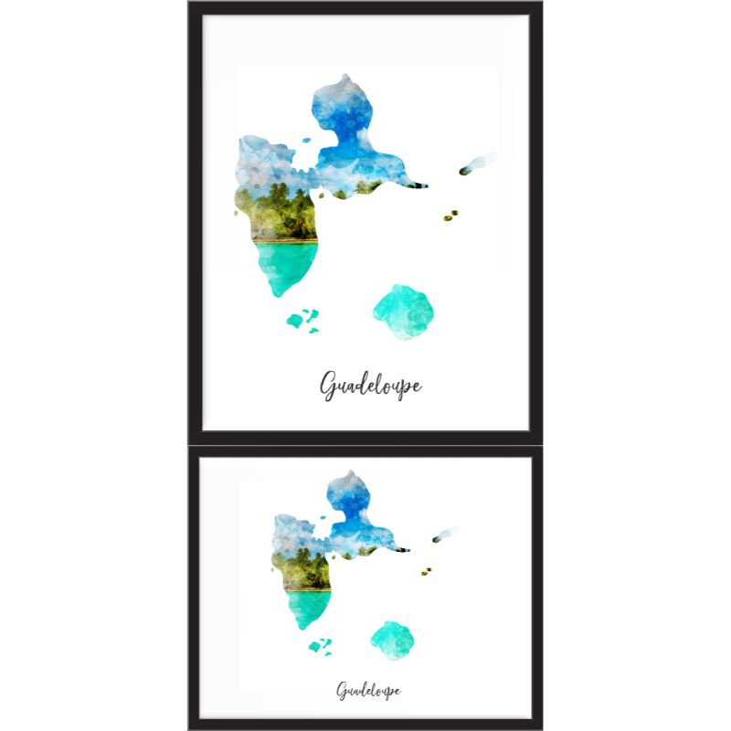 Guadeloupe Watercolor Map Print - Unframed Art Print-Daily Steals