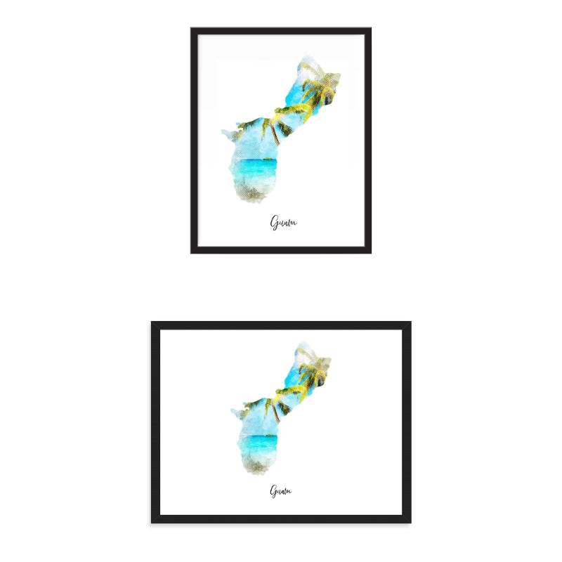 Guam Watercolor Map Print - Unframed Art Print-Daily Steals