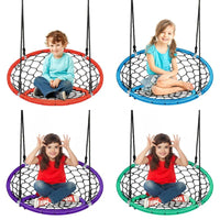 Kid's Outdoor Hanging Netted Swing Chair with Adjustable Ropes