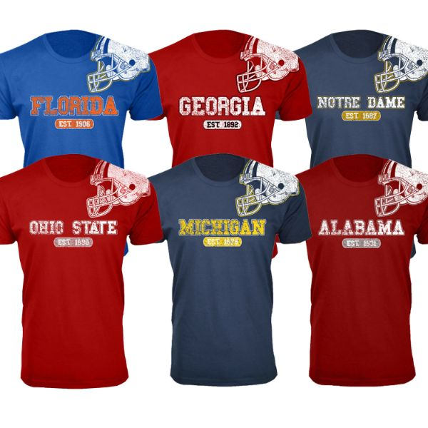 Men's Awesome College Football Helmet T-Shirts-Daily Steals