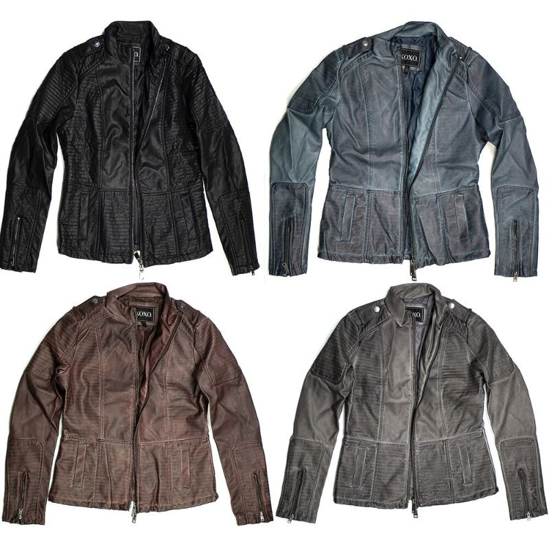 Women's Motorcycle Faux Leather Jacket Quilted Lining Zip Up-Daily Steals