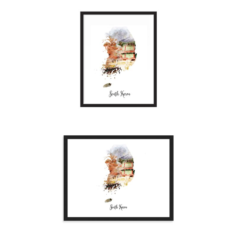South Korea Watercolor Map Print - Unframed Art Print-Daily Steals