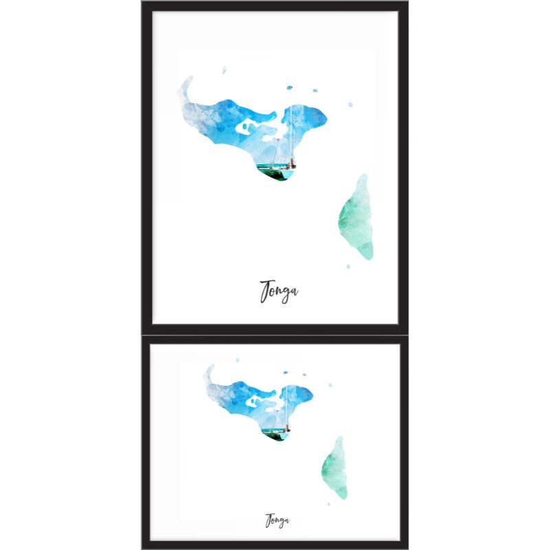 Tonga Watercolor Map Print - Unframed Art Print-Daily Steals
