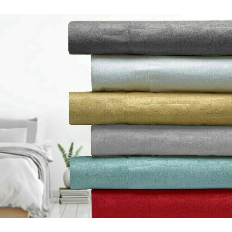 Bamboo 1800 Count Embossed Design 4-Piece Sheet Set-Daily Steals