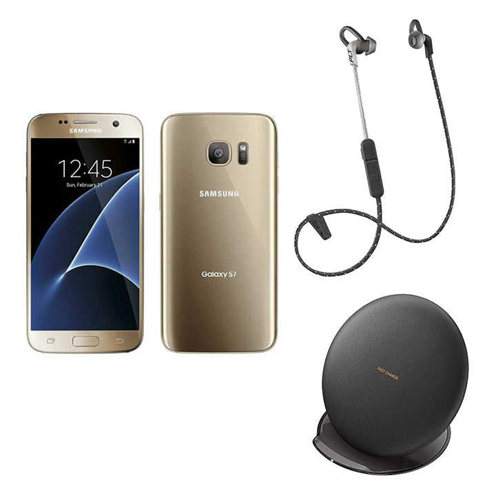 Samsung Galaxy S7 32GB Factory Unlocked GSM 4G Smartphone + Samsung Fast Charge Stand + Plantronics Backbeat Fit 305-Gold Galaxy S7, Black Charging Stand, Black Backbeat Fit-Daily Steals