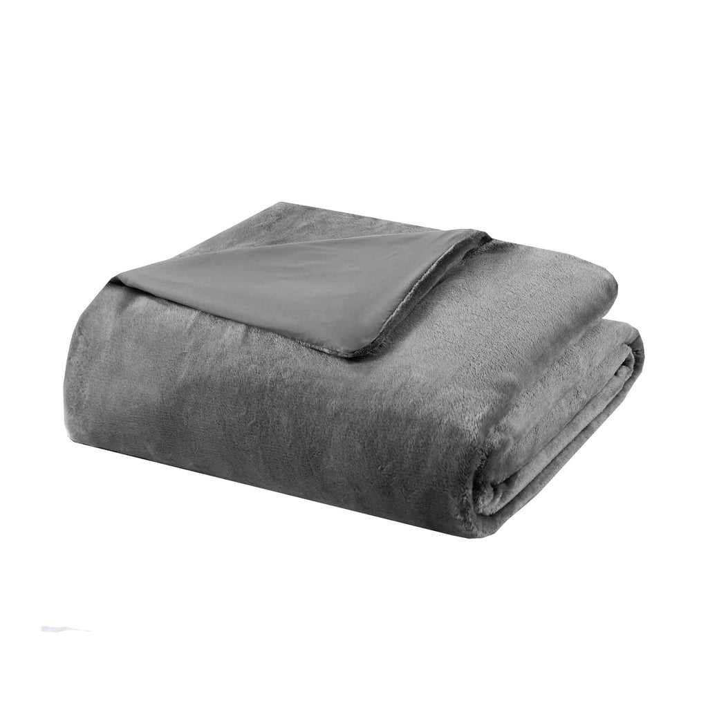 "Weighted Blanket with Reversible Mink Removable Cover-Charcoal Grey-48"" x 72"" - 12 lb-Daily Steals"