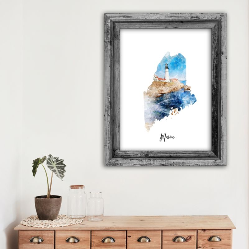 "Maine Watercolor Map Print - Unframed Art Print-11""x14""-Vertical/Portrait-Daily Steals"
