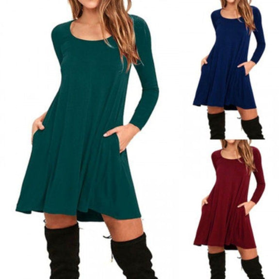 Stylish Full Sleeve Dress with Pockets - 4 Colors-Daily Steals