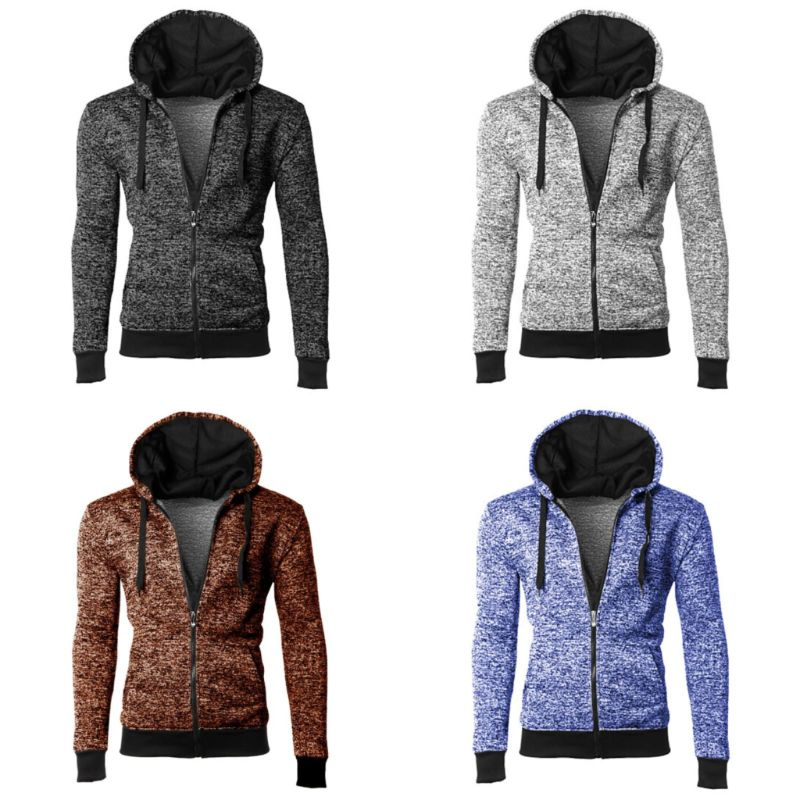 Men's Moisture Wicking Fleece-Lined Full-Zip Up Marled Hoodie-Daily Steals