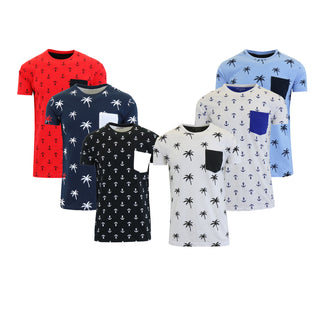 Mens Short Sleeve Printed Tees With Chest Pocket