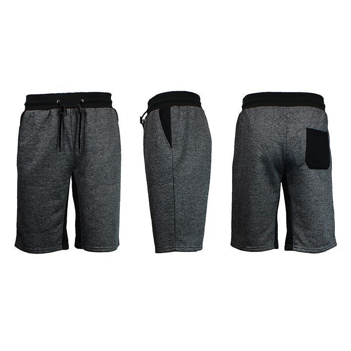 Men's Marled French Terry Shorts with Contrast Pockets-Heather Black/Black-Small-Daily Steals