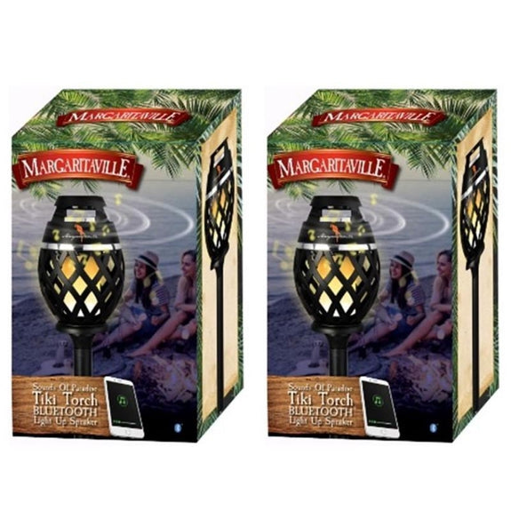 Margaritaville Sounds of Paradise Tiki Torch Bluetooth Light-Up Speaker-2 Pack-