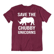 Save The Chubby Unicorns T-Shirt-Maroon-S-Daily Steals