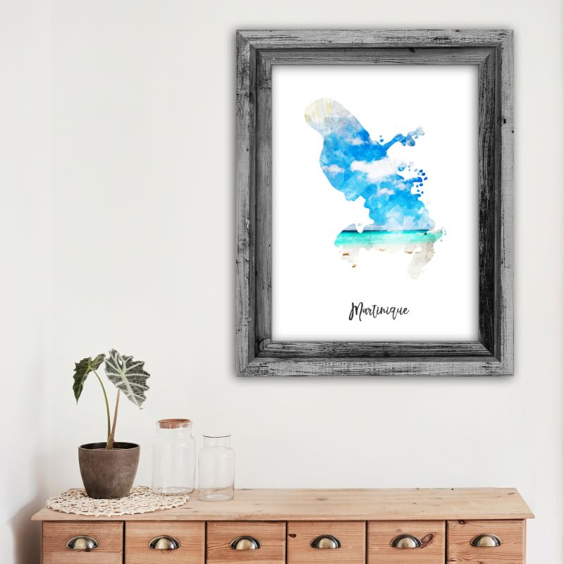 "Martinique Watercolor Map Print - Unframed Art Print-12""x18""-Vertical/Portrait-Daily Steals"
