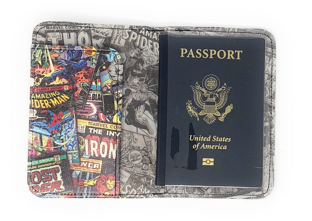 Daily Steals-Marvel Comics Retro Travel Wallet Passport Boarding Pass ID Cover-Accessories-