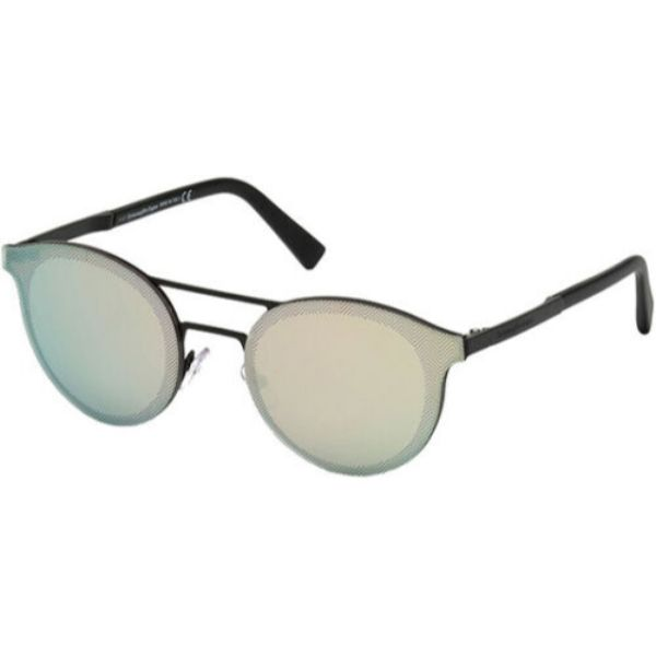 Ermenegildo Zegna Men's Brow Bar Pilot Sunglasses w/ Mirror Lens-Matte Black-Daily Steals