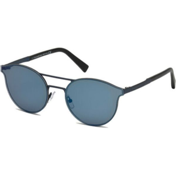 Ermenegildo Zegna Men's Brow Bar Pilot Sunglasses w/ Mirror Lens-Matte Blue-Daily Steals