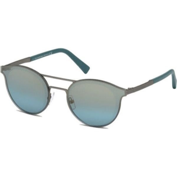 Ermenegildo Zegna Men's Brow Bar Pilot Sunglasses w/ Mirror Lens-Matte Charcoal-Daily Steals