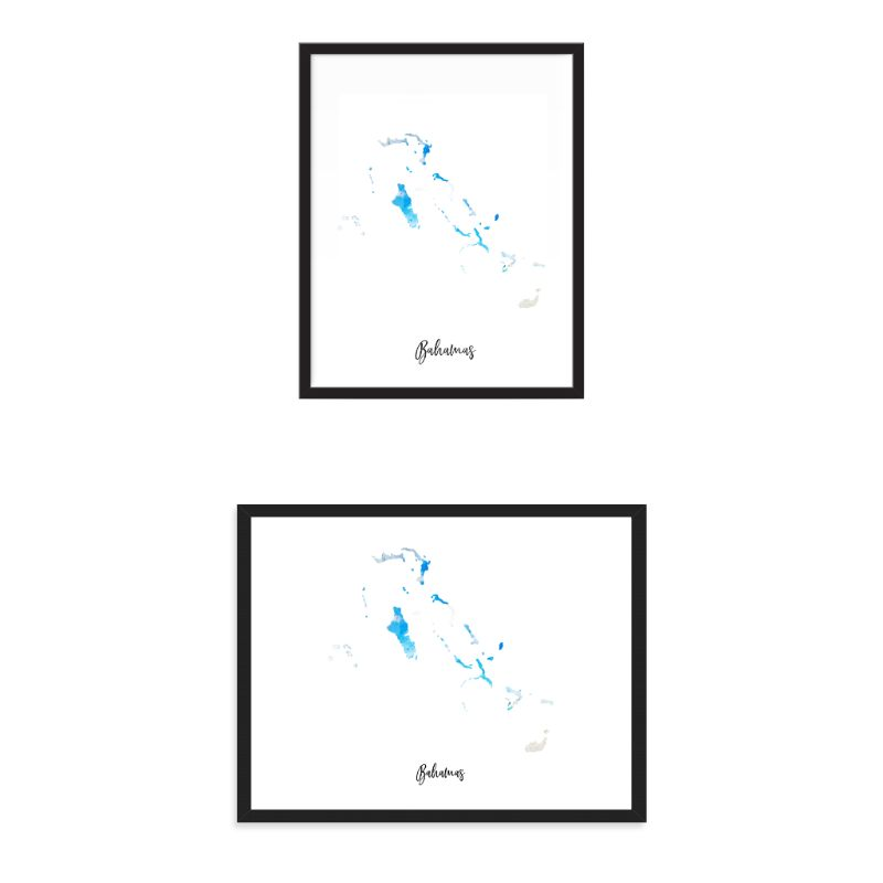 Bahamas Watercolor Map Print - Unframed Art Print-Daily Steals