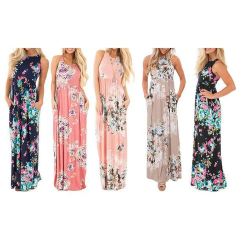 Daily Steals-Maxi Floral Dress - Colors Available-Women's Apparel-Blue-L-