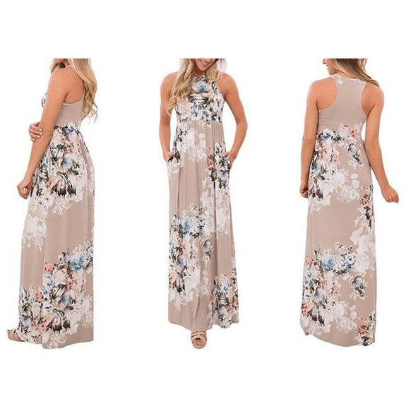 Maxi Floral Dress - Colors Available-Beige-L-Daily Steals