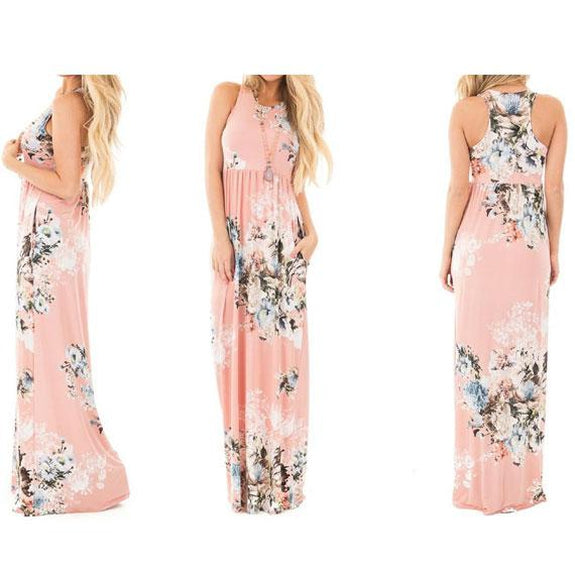 Maxi Floral Dress - Colors Available-Light Pink-L-Daily Steals