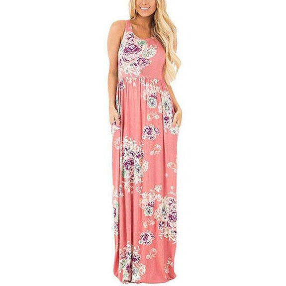Maxi Floral Dress - Colors Available-Pink-L-Daily Steals