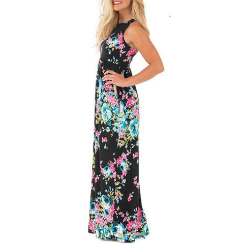 Maxi Floral Dress - Colors Available-Black-L-Daily Steals