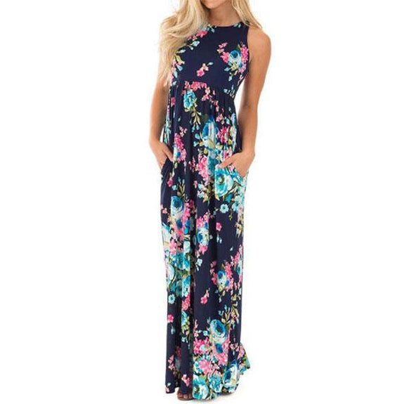 Maxi Floral Dress - Colors Available-Blue-L-Daily Steals