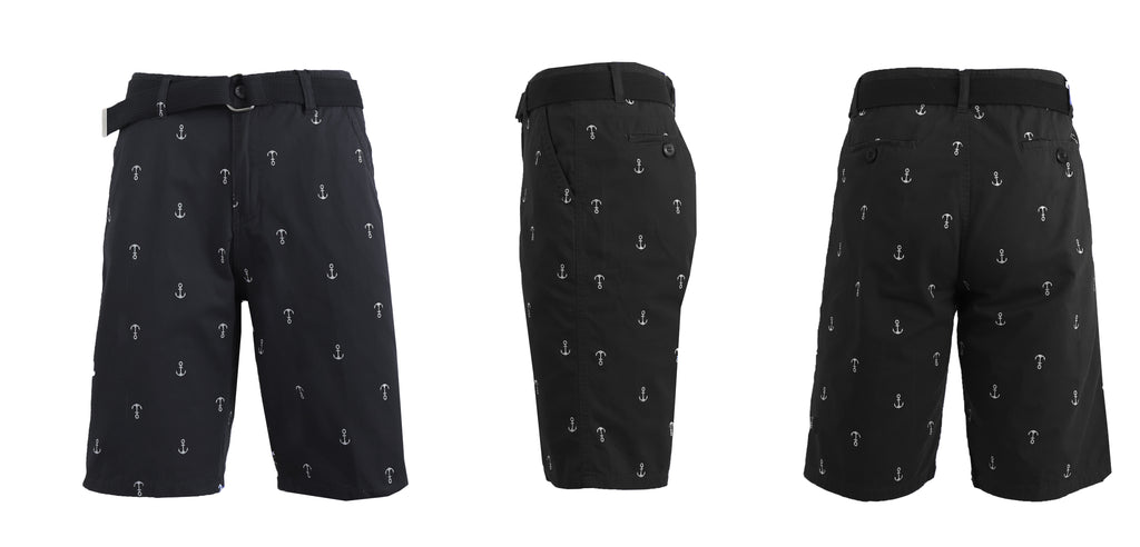 Men's Belted Fashion Printed Cotton Shorts with Modern Fit