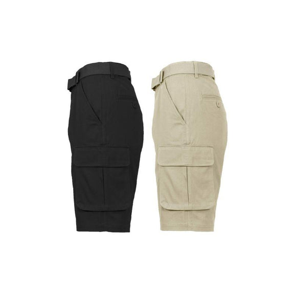Men's Cotton Stretch Cargo Shorts with Belt - 2 Pack-Black & Khaki-36-Daily Steals