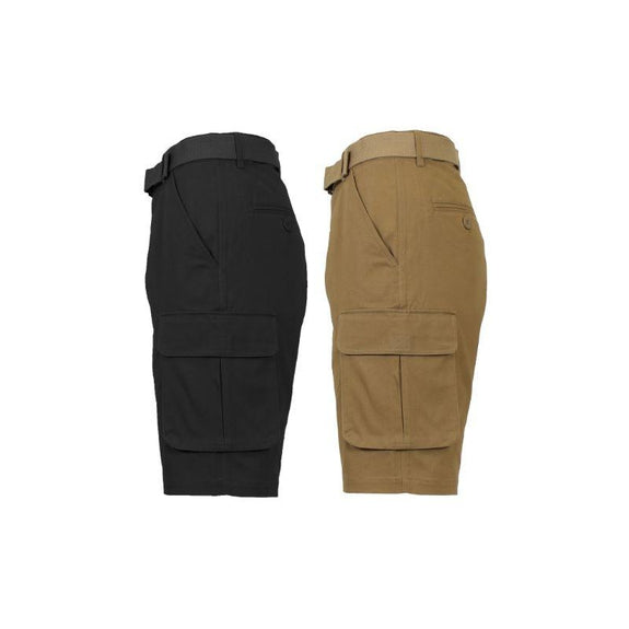 Men's Cotton Stretch Cargo Shorts with Belt - 2 Pack-Black & Timber-34-Daily Steals