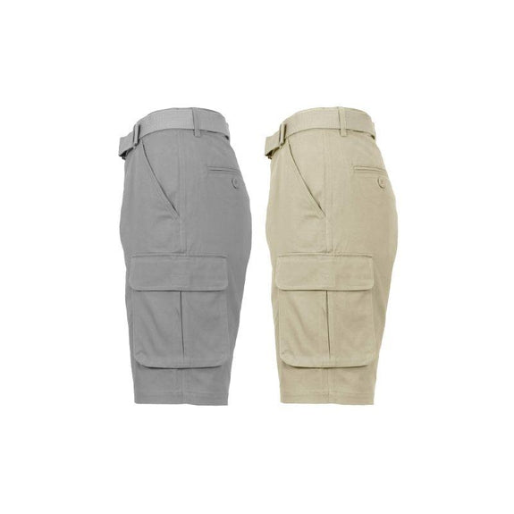 Men's Cotton Stretch Cargo Shorts with Belt - 2 Pack-Khaki & Grey-34-Daily Steals