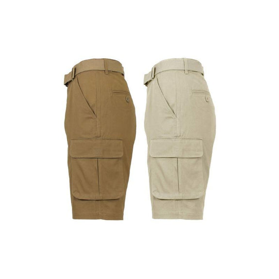 Men's Cotton Stretch Cargo Shorts with Belt - 2 Pack-Timber & Khaki-32-Daily Steals