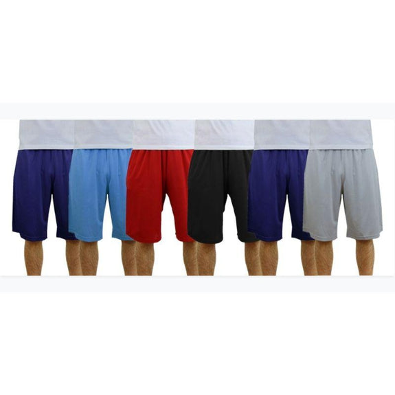 Men's Moisture Wicking Shorts - 6 Pack-Black-Navy-Silver-Navy-Light Blue-Red-S-Daily Steals