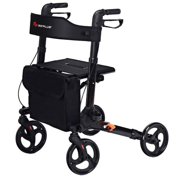 Medical Folding Rollator Lightweight Aluminum Walker for Seniors-